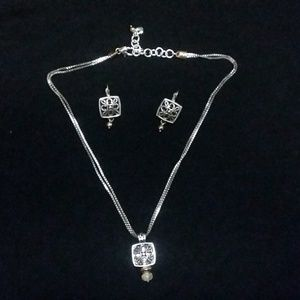 Brighton silver earrings &necklace set.